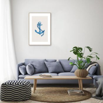 Blue Anchor In Watercolor Wall Art