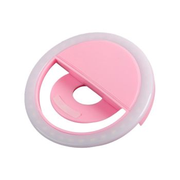 Rechargeable Selfie LEDFlash Fill Ring Clip For Samsung iPhone Pink