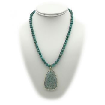Natural Amazonite & African Jasper Turquoise Charm Pendant Necklace