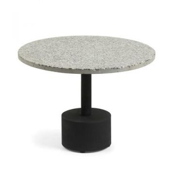 Milano Side Table - Metal Legs - Grey & White Terazzo Top