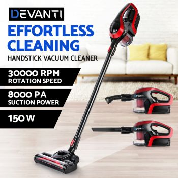 Devanti Handheld Vacuum Cleaner Cordless Stick Handstick Bagless Car Vacuum Recharge Portable Black