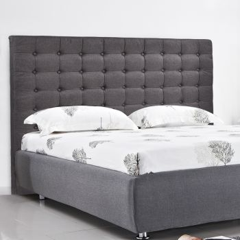 Levede Bed Frame Fabirc Base with Bed Headboard in Queen in Charcoal