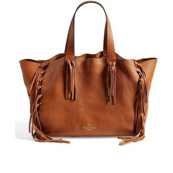 Valentino Shopping Fringes Leather Tote