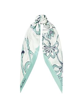 Florence Broadhurst Accessories Egrets Women's Teal Silk Scarf