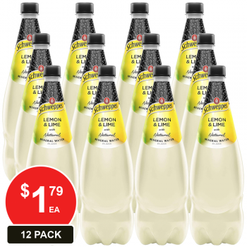 12 Pack, Schweppes 1.1l Lemon & Lime With Natural Mineral Water