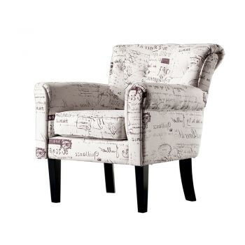 2x Levede Upholstered Armchair Dining Chairs Single Accent Sofa Padded Fabric