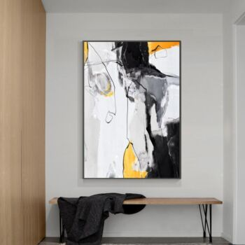 Abstract Art, Mustard, Grey And Black, Style A Wall Art