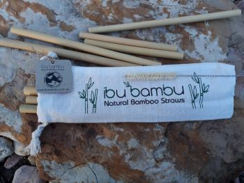 Bamboo Straws Mixed 8 Pack– 6 regular & 2 cocktail straws & coconut fibre cleaning brush in cotton pouch