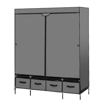 Levede Portable Wardrobe Organiser Clothes Closet Storage with 4 Drawer