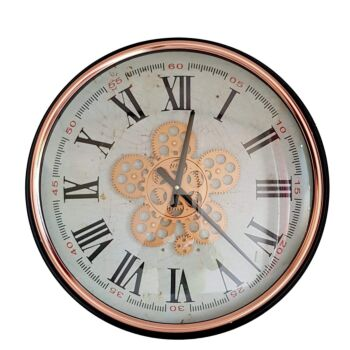 Domonique Round Moving Cogs Wall Clock - Rose Gold