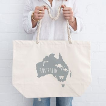 Australia Map Beach Bag