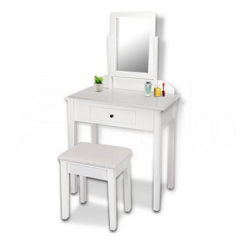 Luxury Dressing Table & Stool with Mirror for Makeup Organizerin White Colour