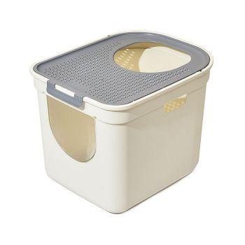 Cat Litter Box Odor Control Fully Enclosed Kitty Toilet Sifting Tray in Grey