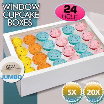 5 Pcs 2 Holed Cupcake Boxes with Window Face Cover and Inserts