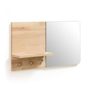 Maiden Mirror Wall Hanging Coat Rack - Natural