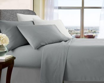 Double Bed Soft Brushed Microfibre Sheet Sets in Silver