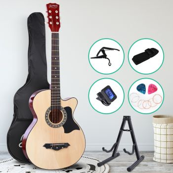 Guitar Acoustic Guitars 38 Inch Wooden Folk Classical Cutaway Steel String w/ Capo Tuner Stand For Kids and Adult Natural Wood Alpha