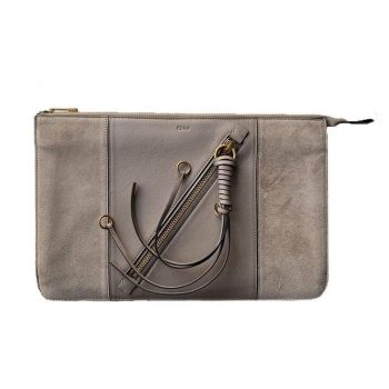 Chloé Myer Motty Grey Pouch Clutch