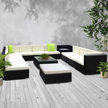 Outdoor Lounge Setting Furniture Sofa Set 13PC Wicker Rattan Garden Patio Pool Lounger Cushions Seat Couch Table Gardeon