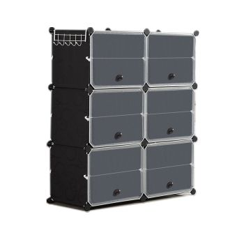 6 Tier Cute Cabinet Stackable Organiser for Shoes in Black