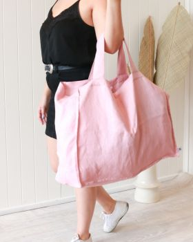 Linen Tote Bag - Large - Pink -55x 66