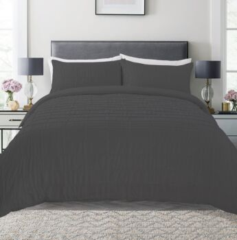 Dreamaker Spandex Emboridery Quilt Cover Set Honeycomb Queen Bed Charcoal