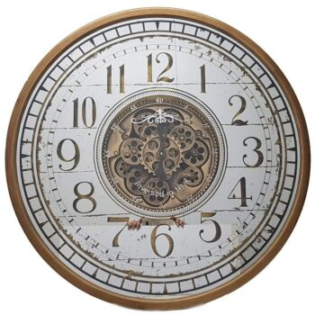 Round 80Cm Mirrored Chã¢Teau Moving Cogs Wall Clock - Gold