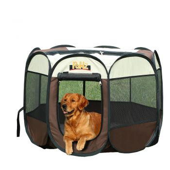 """PaWz Dog Playpen Pet Play Pens Foldable Panel Tent Cage Portable Puppy Brown 42"""""""