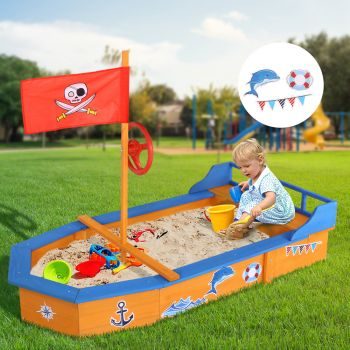 Kids Sandpit Boat Wooden Outdoor Play Sand Pit Toys Box Children Large Keezi
