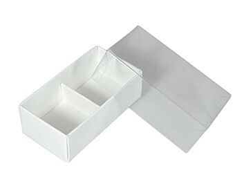 50 Pack - White Chocolate Gift Product Food Grade Bomboniere Favour Box - 2 Compartment Section Bay - Clear Slide On Lid - 8x4x3cm