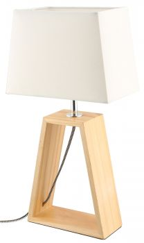 LUMINITE WOOD TABLE LAMP OBO CREAM 20X12X38