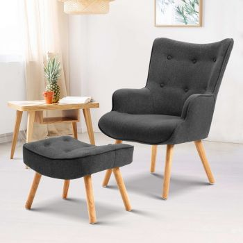 Artiss Armchair Lounge Chair Fabric Sofa Accent Chairs and Ottoman Charcoal