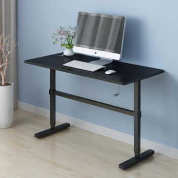 ZASS Stand Up Table Sit & Stand Desk Height Adjustable Table Laptop Desks Home Office Manual Adj. - Black Willow