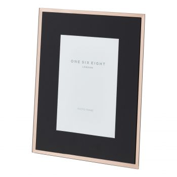 7 x 5 Black / Rose Gold Glass Photo Frame