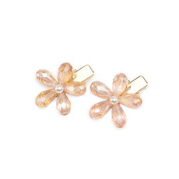 Evalina Periwinkle Crystal Clips In Pink