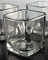 24 Pack - Square Cube 5cm Clear Glass Tealight Votive Candle Holder