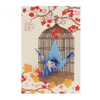 Small Card Crane in Cage Diamond Crane Blue