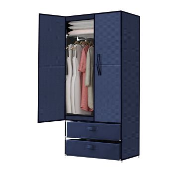 Levede Portable Clothes Closet Storage Cloth Organiser Rack in Navy