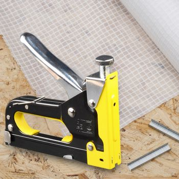 Heavy Duty Staple Gun Tacker Upholstery Stapler 1500 Nails Fastener Tool Kit
