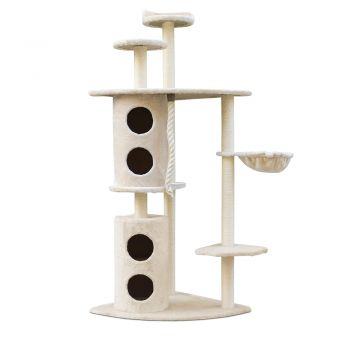 i.Pet Cat Tree Trees Scratching Post Scratcher Tower Condo House Furniture Wood Beige