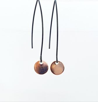 Simple Rose Gold On Black Disc Dangles