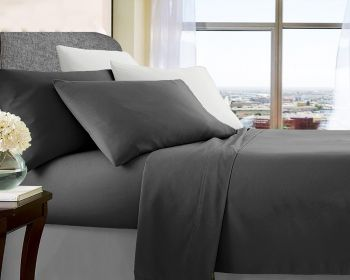 Single Bed Soft Brushed Microfibre Sheet Sets in Charcoal