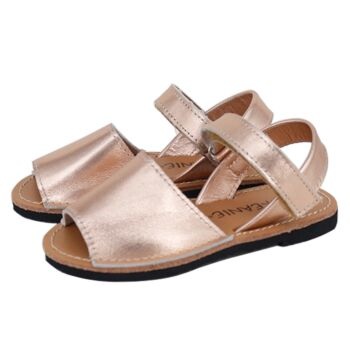 SKEANIE Kids Avarcas Leather Sandals Rose Gold